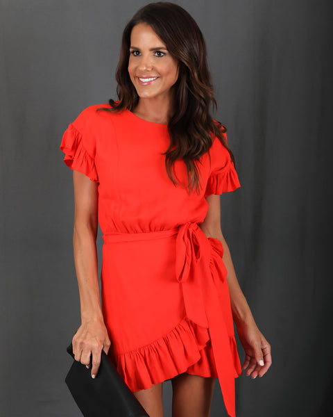 Pretty Please Ruffle Dress - Blood Orange