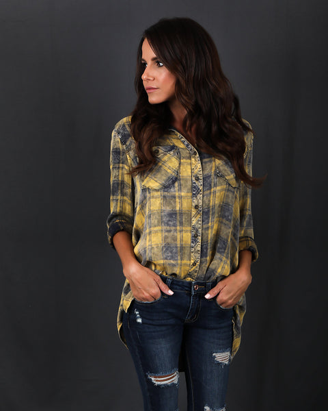Baldwin Plaid Button Down Top
