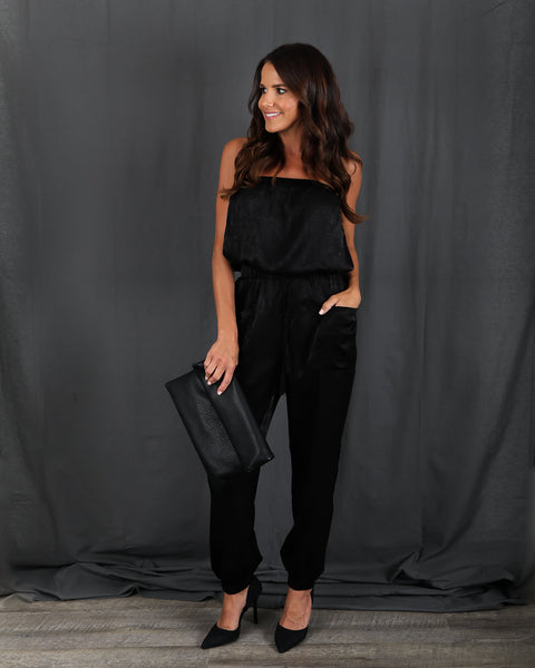 Satin Sheets Pocketed Jumpsuit - Black