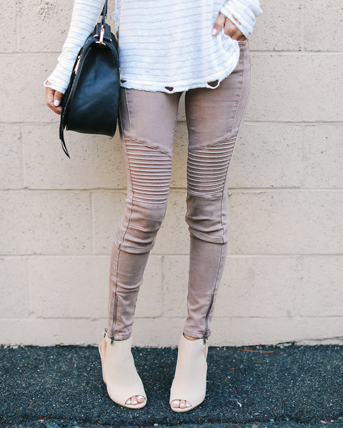 Zara Piped Zip Skinnies - Mocha