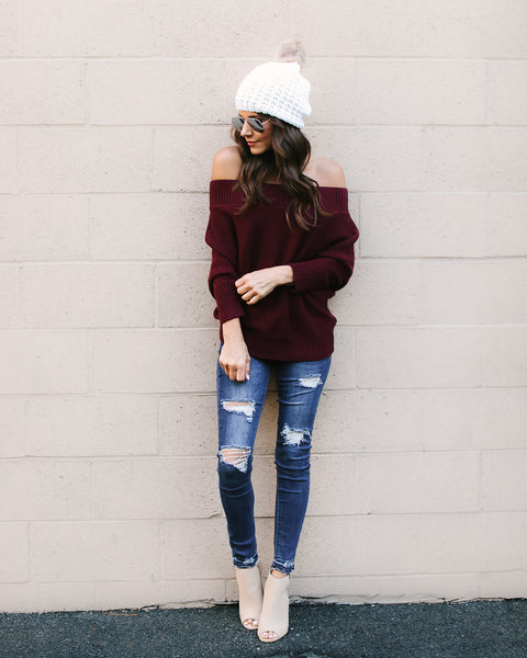 Day To Night Off The Shoulder Sweater - Burgundy