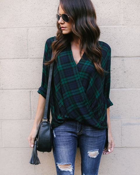 Montana Plaid Drape Top