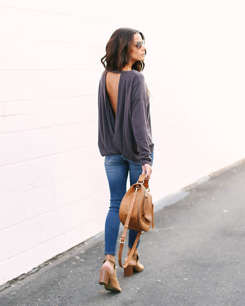 Follow My Lead Open Back Knit Top - Eggplant