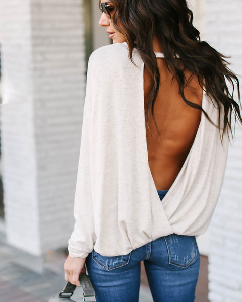 Follow My Lead Open Back Knit Top - Oatmeal