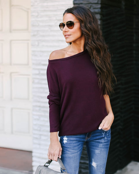 Follow My Lead Open Back Knit Top - Wine - FINAL SALE