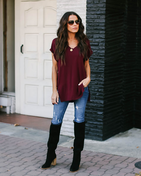 The Best Ever V-Neck Tee - Wine