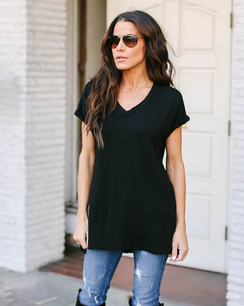 The Best Ever V-Neck Tee - Black