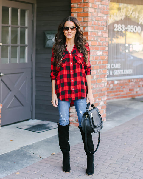 Hot Cider Button Down Plaid Top