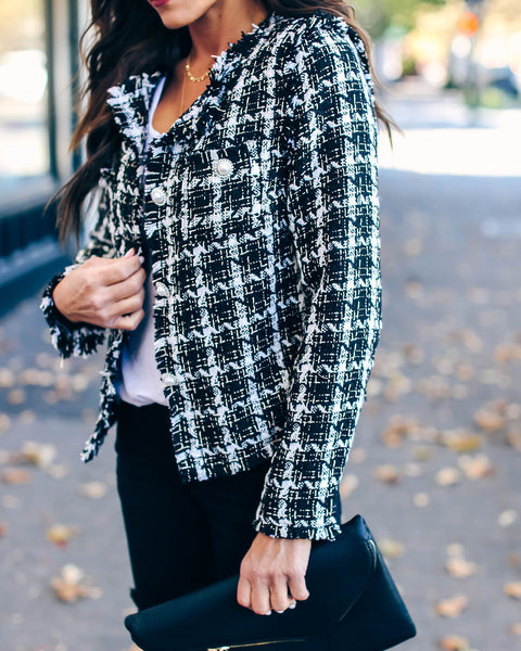 Windsor Embellished Frayed Tweed Jacket - Black