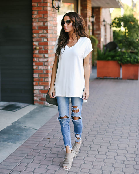 The Best Ever V-Neck Tee - White