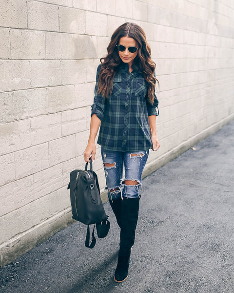 Noble Fir Cotton Button Down Plaid Top