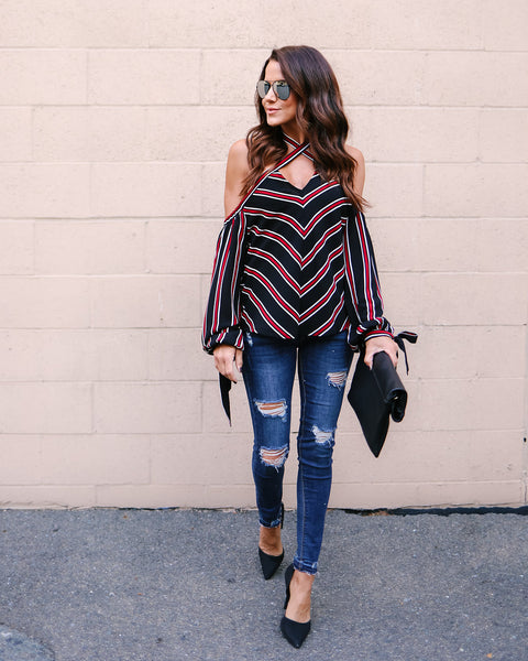 Keepin' Score Cold Shoulder Top