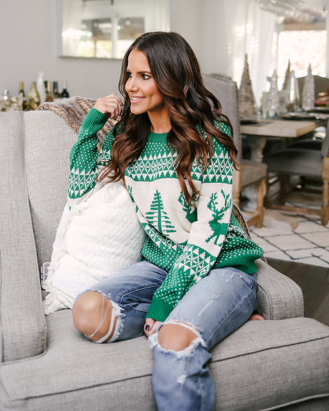 Dasher & Dancer Sweater - Kelly Green - FINAL SALE