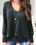 Duchess Satin N' Lace Blouse - Black