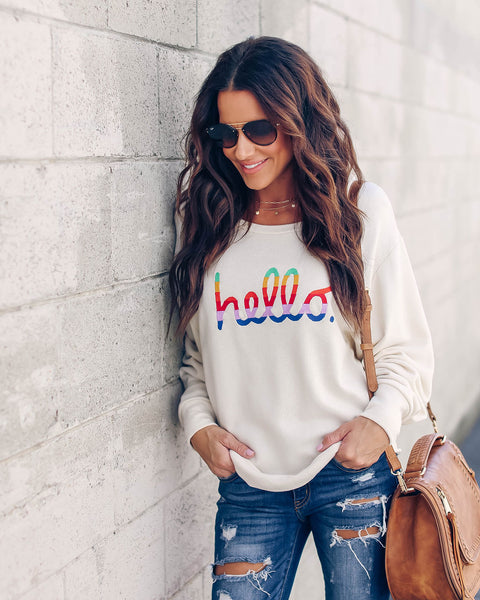 Hello Embroidered Sweatshirt