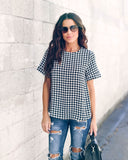 On The Clock Gingham Blouse - Black