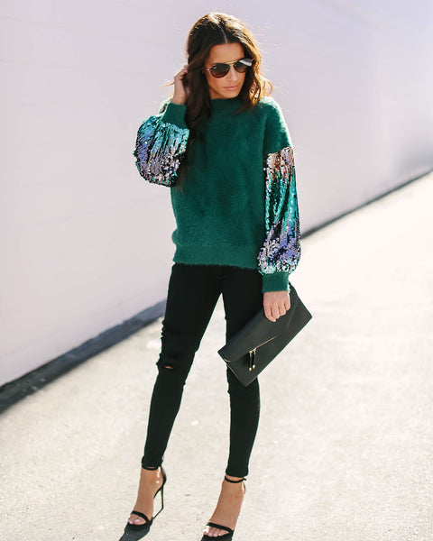 Tannenbaum Contrast Sequin + Knit Sweater