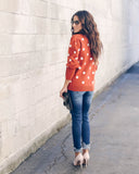Pampered Polka Dot Balloon Sleeve Sweater - Rust