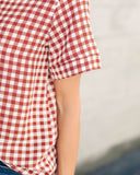 On The Clock Gingham Blouse - Rust