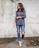 Malibu Long Sleeve Top - Charcoal