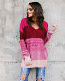 Color Me Cute Striped Sweater - Magenta