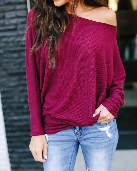 Yukon Dolman Sleeve Knit Top - Burgundy