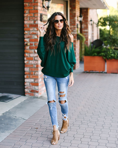 Yukon Dolman Sleeve Knit Top - Hunter Green