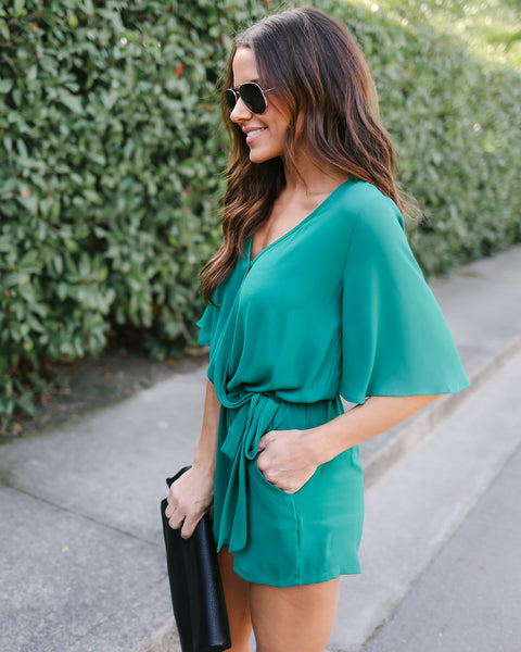 Live In Bliss Pocketed Romper - Hunter Green