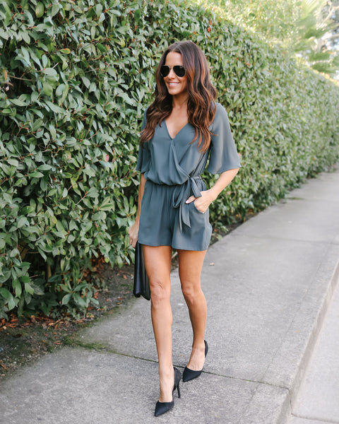 Live In Bliss Pocketed Romper - Olive