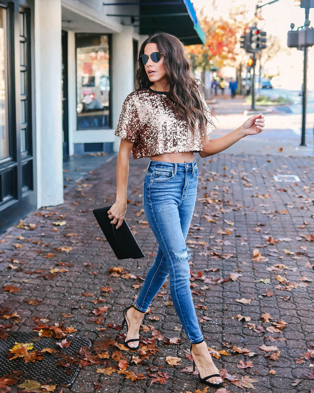 95ed248b15e958 Bling Bling Sequin Crop Top - Rose Gold – VICI