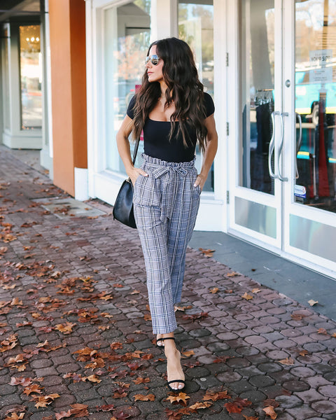 London Bridge Plaid Pocketed Trousers
