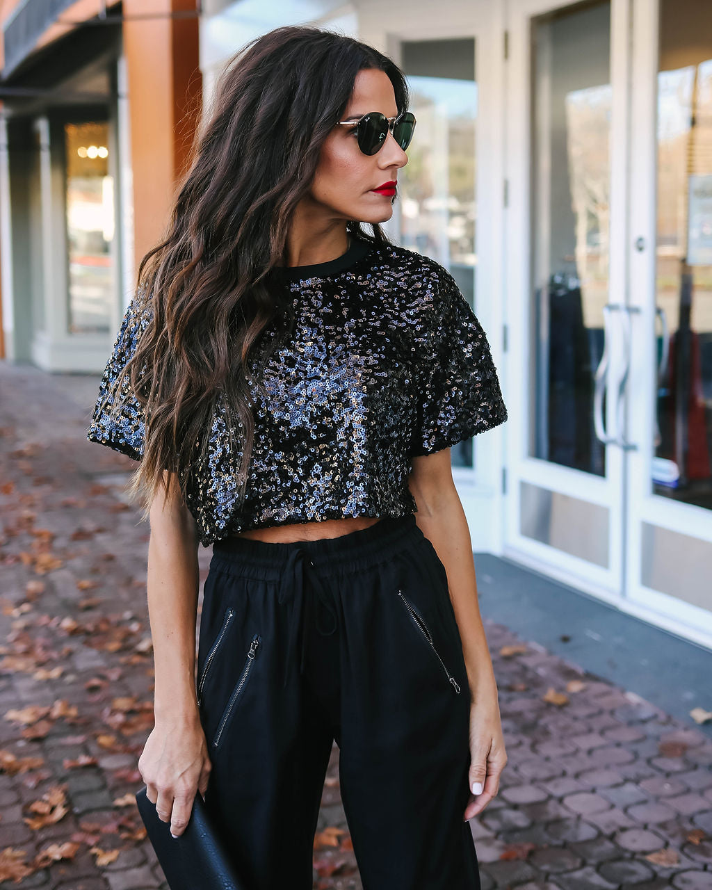 25b29ad7bb1 Bling Bling Sequin Crop Top - Black – VICI