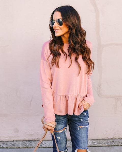 Dream Lover Ruffle Knit Top - Mauve