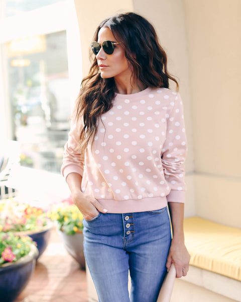Get Spotted Cotton Polka Dot Sweatshirt - Pink - FINAL SALE
