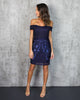 Ever After Mesh Applique Dress - Navy - FINAL SALE