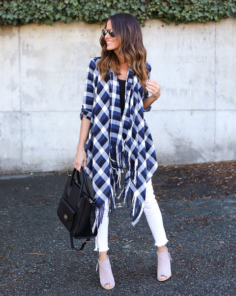 Hale Plaid Fringe Cardigan