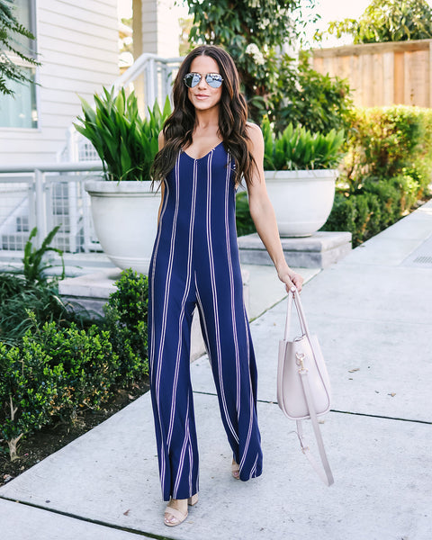Walk This Way Striped Jumpsuit
