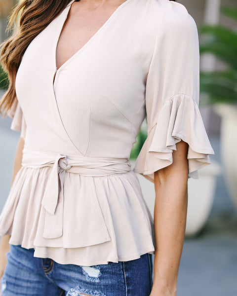 Magdalena Wrap Blouse - Latte - FINAL SALE