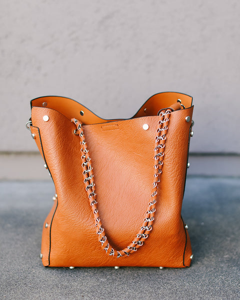 Rumi Studded Handbag - Tan