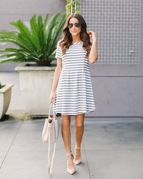 Priscilla Striped Cotton Dress
