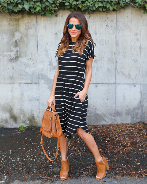 Becky Striped Pocketed Dress