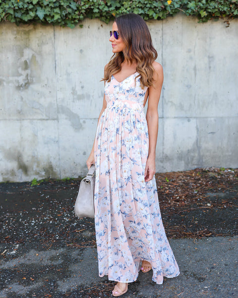 Lavenia Floral Maxi Dress - Blush