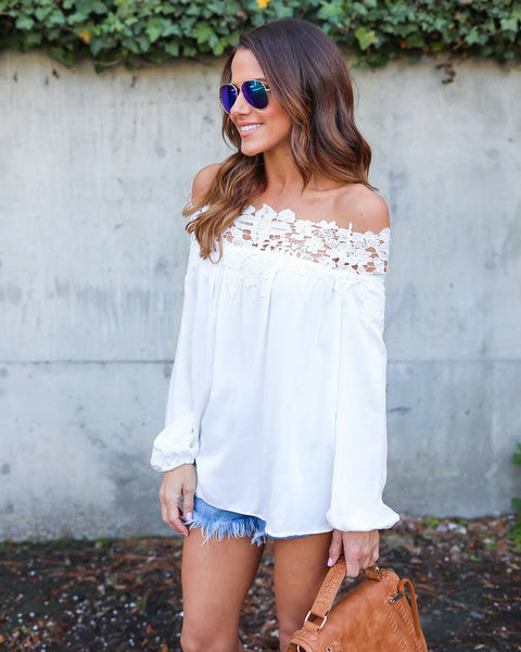 Anika Lace Off The Shoulder Top - White