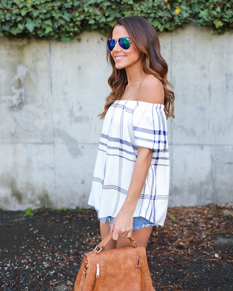 Calina Off The Shoulder Plaid Top