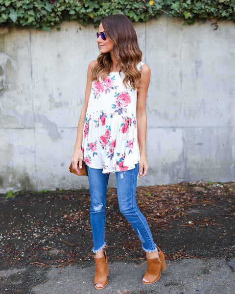 Blooms In The City Tank - Ivory