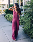 Evanne Pocketed Maxi Dress - Plum Berry
