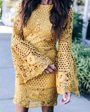 Bethany Bell Sleeve Crochet Dress - Mustard - FINAL SALE