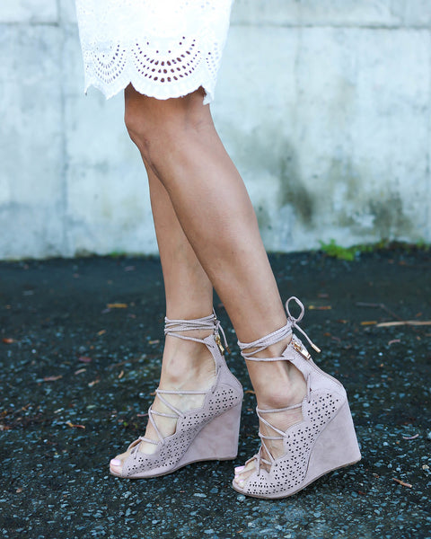Gabrielle Lace Up Bootie - Taupe