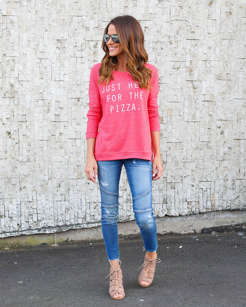 Just Here For The Pizza Knit - FINAL SALE