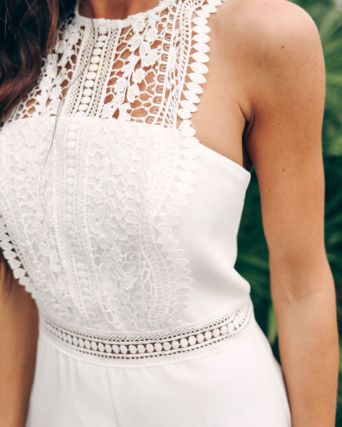 Top It Off Crochet Romper - White - FINAL SALE